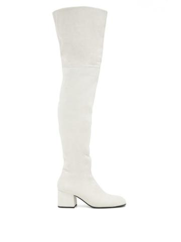 Matchesfashion.com Marni - Zipped Suede Over-the-knee Boots - Womens - White