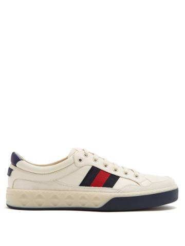 Gucci Web-striped Low-top Leather Trainers