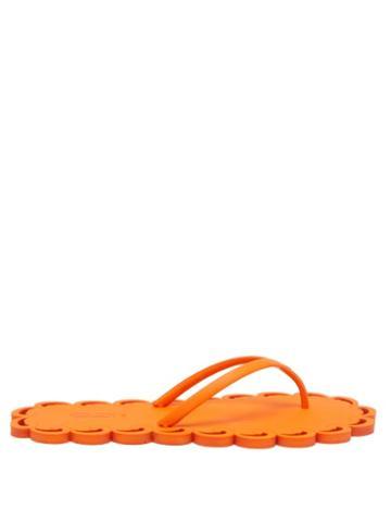 Ladies Shoes Carlotha Ray - Laser-cut Scented-rubber Flip Flops - Womens - Orange