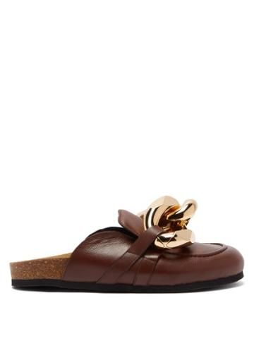 Matchesfashion.com Jw Anderson - Chain Backless Leather Loafers - Womens - Brown