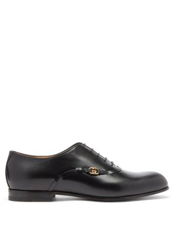 Matchesfashion.com Gucci - Loomis Gg-logo Leather Oxford Shoes - Mens - Black