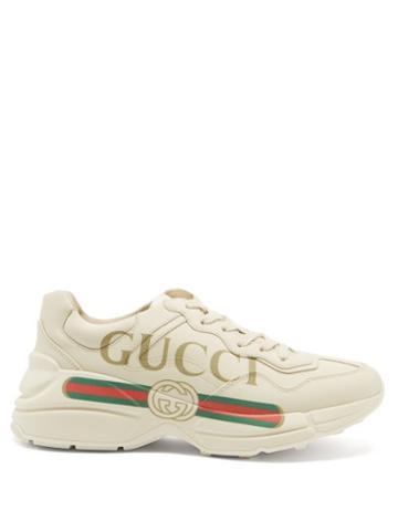 Matchesfashion.com Gucci - Rhyton Logo-print Leather Trainers - Womens - White Multi