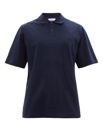 Matchesfashion.com Y-3 - Logo-print Cotton-piqu Polo Shirt - Mens - Navy