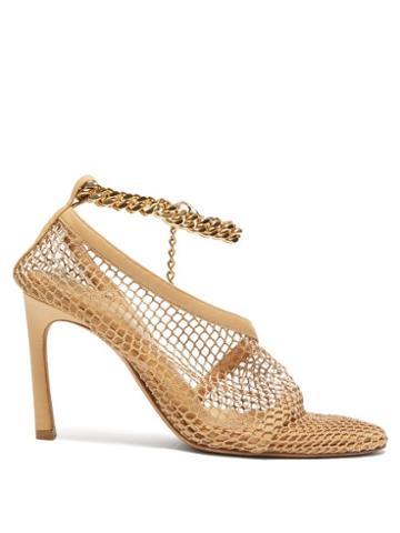 Matchesfashion.com Bottega Veneta - Anklet-embellished Mesh Pumps - Womens - Beige