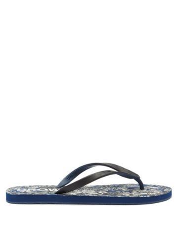Mens Shoes Orlebar Brown - Haston Rubber Flip Flops - Mens - Blue Multi