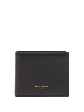 Matchesfashion.com Dolce & Gabbana - Logo Stamped Leather Bi Fold Wallet - Mens - Black