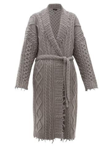 Matchesfashion.com Alanui - Fisherman Cable Knit Cashmere And Wool Coat - Mens - Grey