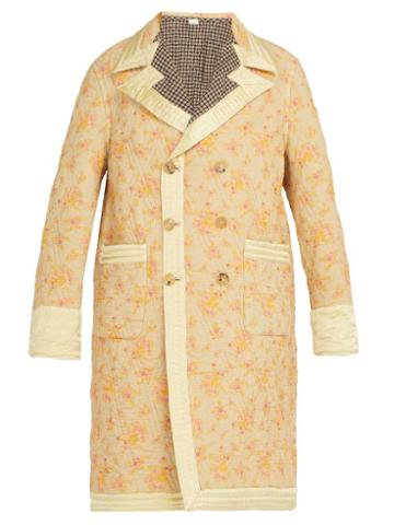 Matchesfashion.com Gucci - Reversible Floral Print And Checked Quilted Coat - Mens - Cream