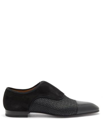 Matchesfashion.com Christian Louboutin - Alpha Male Suede And Chevron-twill Oxford Shoes - Mens - Black