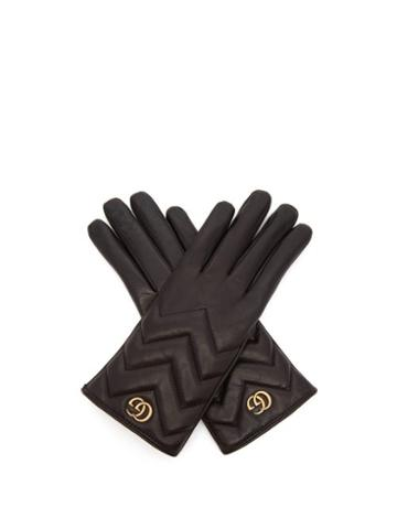 Matchesfashion.com Gucci - Gg Marmont Chevron-quilted Leather Gloves - Womens - Black