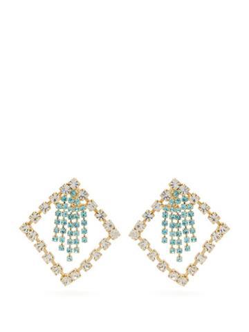 Matchesfashion.com Rosantica By Michela Panero - Divinita Crystal Embellished Earrings - Womens - Green