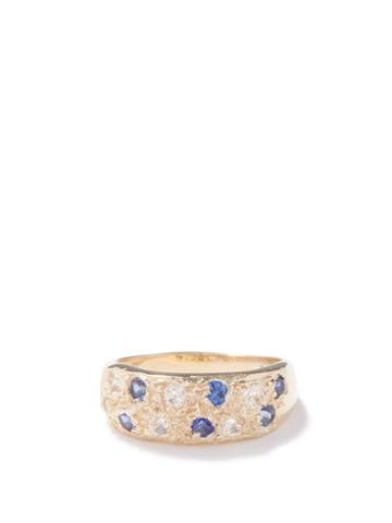 Bleue Burnham - Mini Riviera Sapphire & Crystal Recycled-gold Ring - Mens - Gold