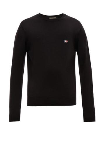 Matchesfashion.com Maison Kitsun - Fox Embroidered Virgin Wool Sweater - Mens - Black
