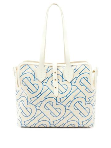 Matchesfashion.com Burberry - Tb-print Leather-trimmed Cotton Tote Bag - Womens - Blue Multi