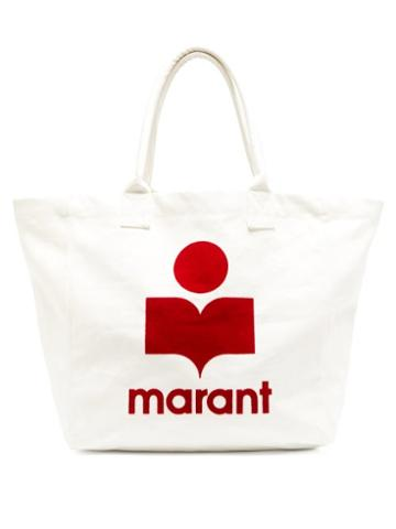 Matchesfashion.com Isabel Marant - Yenky Logo-flocked Cotton-canvas Tote Bag - Womens - White