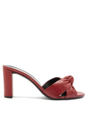 Matchesfashion.com Saint Laurent - Bianca Knotted Leather Mules - Womens - Red