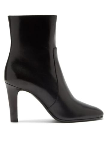 Matchesfashion.com Saint Laurent - Blu Leather Ankle Boots - Womens - Black