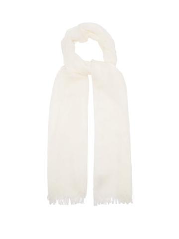 Matchesfashion.com Johnstons Of Elgin - Fringed Wool Scarf - Womens - White