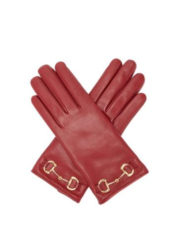 Matchesfashion.com Gucci - Horsebit Leather Gloves - Womens - Red