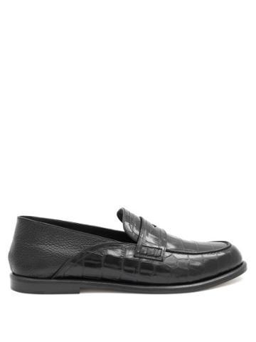 Matchesfashion.com Loewe - Crocodile-embossed Leather Loafers - Mens - Black