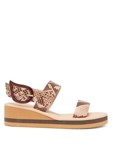 Matchesfashion.com Ancient Greek Sandals - Clio Rainbow Python-embossed Leather Wedges - Womens - Pink Multi
