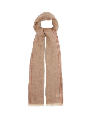Matchesfashion.com Brunello Cucinelli - Selvedge-striped Linen-blend Twill Scarf - Mens - Brown