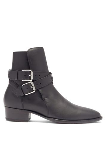 Matchesfashion.com Amiri - Buckled Leather Boots - Mens - Black