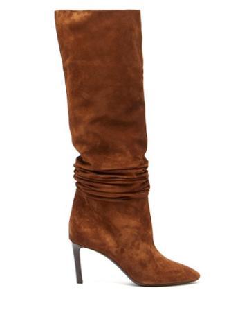 Matchesfashion.com Saint Laurent - Mica Slouched Suede Boots - Womens - Tan