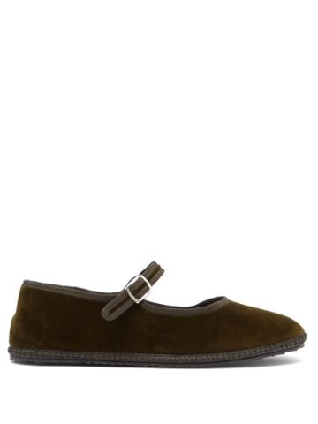 Matchesfashion.com Vibi Venezia - Mary-jane Velvet Furlane Flats - Womens - Dark Green