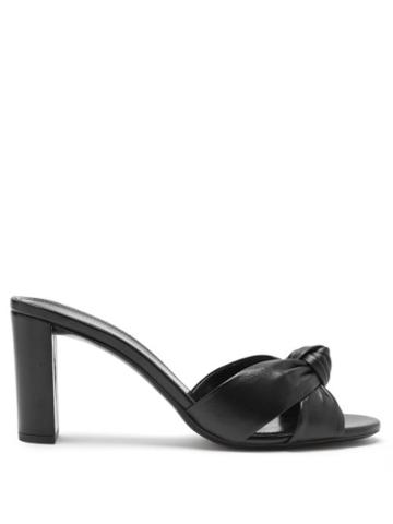 Matchesfashion.com Saint Laurent - Bianca Knotted-front Leather Mules - Womens - Black
