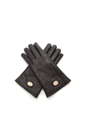 Matchesfashion.com Gucci - Gg Plaque Craquel-leather Gloves - Mens - Black