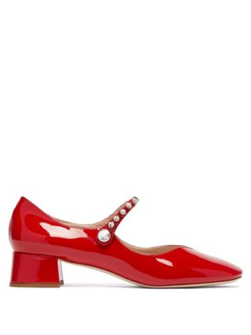 Matchesfashion.com Miu Miu - Crystal Embellished Mary Jane Leather Pumps - Womens - Red