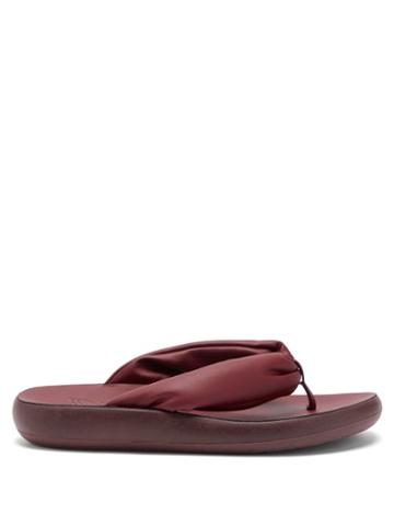Ladies Shoes Ancient Greek Sandals - Charisma Padded-strap Leather Flip Flops - Womens - Burgundy