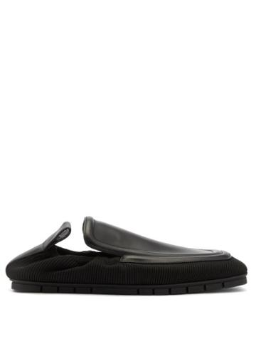 Matchesfashion.com Bottega Veneta - Plank Leather And Technical-knit Loafers - Mens - Black