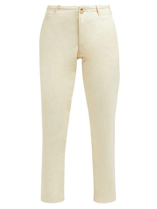 Matchesfashion.com Holiday Boileau - Buckled Tab High Rise Cotton Chino Trousers - Womens - Cream