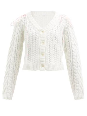 Cecilie Bahnsen - Milo Frilled Cable-knit Wool-blend Cardigan - Womens - Cream