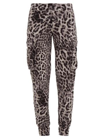 Matchesfashion.com Norma Kamali - Leopard Print Jersey Cargo Track Pants - Womens - Grey Print