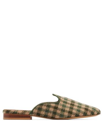 Matchesfashion.com Giuliva Heritage Collection - X Le Monde Beryl Venetian Houndstooth Wool Mules - Womens - Green Multi