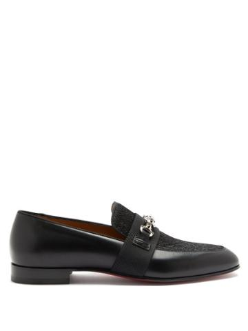 Matchesfashion.com Christian Louboutin - Panamax Chain-embellished Leather Loafers - Mens - Black