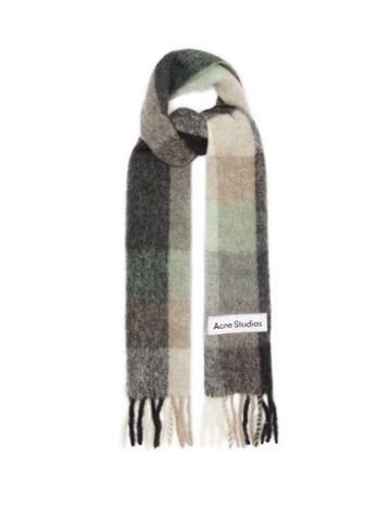 Acne Studios - Vally Checked Alpaca-blend Scarf - Womens - Green Multi