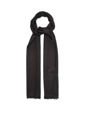 Matchesfashion.com Saint Laurent - Ysl-jacquard Silk-blend Twill Scarf - Womens - Black