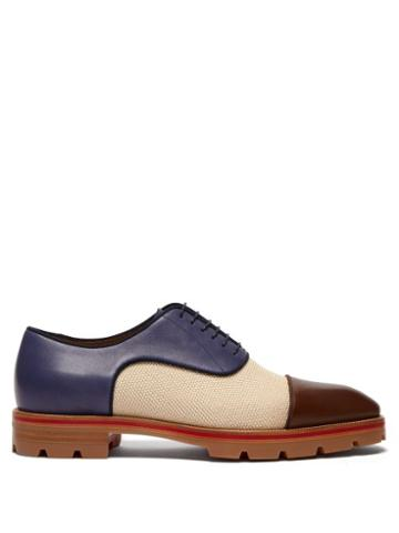 Matchesfashion.com Christian Louboutin - Hubertus Canvas And Leather Oxford Shoes - Mens - Multi