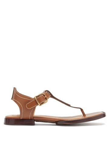 Matchesfashion.com Chlo - Gaile Topstitched Leather Sandals - Womens - Brown