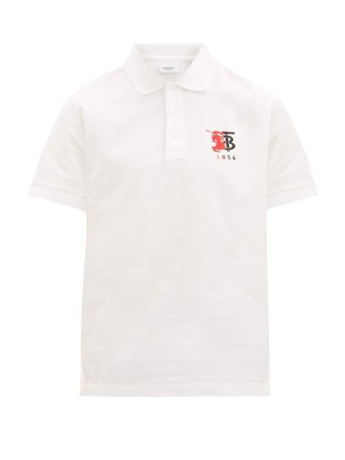 Matchesfashion.com Burberry - Kimpton Logo Embroidered Cotton Piqu Polo Shirt - Mens - White