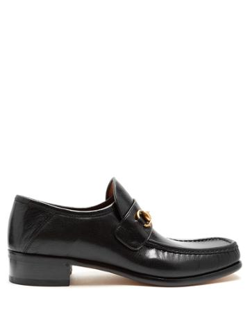 Gucci Horsebit Square-toe Leather Loafers