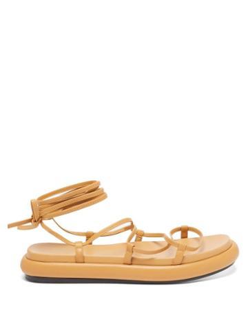 Khaite - Alba Leather Wraparound Platform Sandals - Womens - Tan