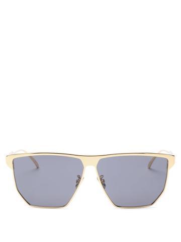 Matchesfashion.com Bottega Veneta - Angular Metal Sunglasses - Mens - Gold