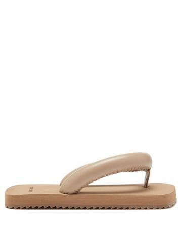Yume Yume - Suki Faux-leather Flip Flops - Womens - Dark Beige