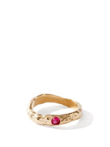Matchesfashion.com Anita Berisha - January Birthstone & 14kt Gold-plated Ring - Womens - Red