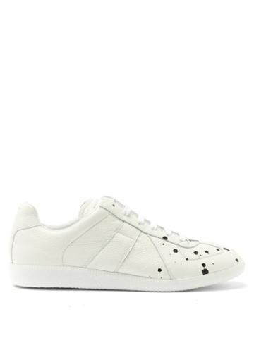 Matchesfashion.com Maison Margiela - Replica Paint-drop Grained-leather Trainers - Mens - White Black